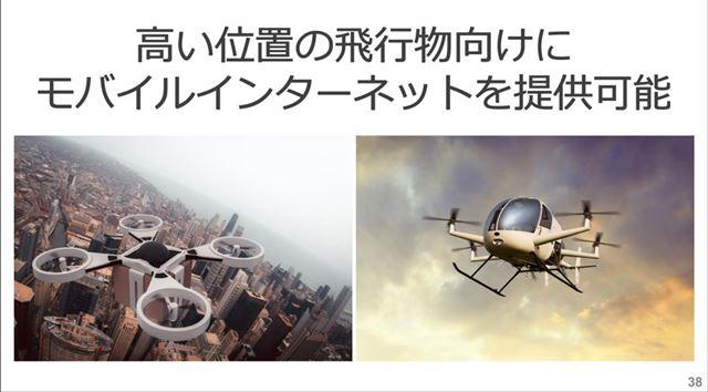 上空を飛ぶドローンや飛行機などでもモバイル通信が行える