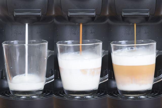 スチームミルクとふわふわのフォームミルク、そしてエスプレッソによって作り出される層がなんとも美しい!