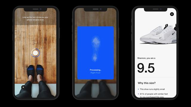 足の写真を撮るとサイズを測定し、最適なサイズの靴を提案する「Nike Fit」