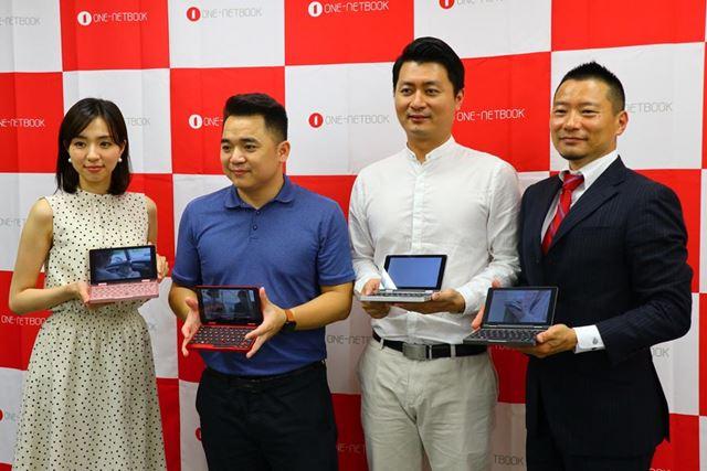 一番右がテックワンの中林氏、その左がONE-NETBOOK TechnologyのJack Wang氏