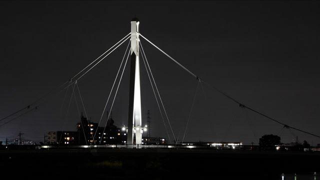 橋を支えるケーブルや電線などのディテールがしっかりと残っています