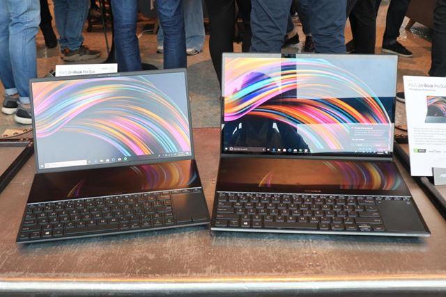 ZenBook Pro Duoの14型モデル(左)、15.6型モデル(右)