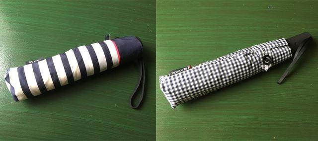 左がペパーミントの私物折りたたみ傘。これはhands+の傘の半額ぐらいの値段で買えるものです