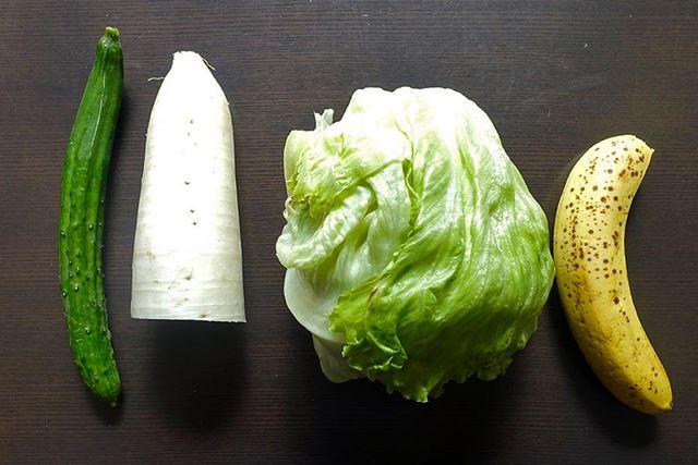 さっそく、野菜を用意してみました(バナナは果物ですが、傷みっぷりがわかりやすそうだったので……)