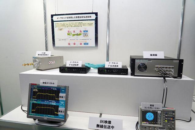 8Kワイヤレスカメラの映像を受けて、市販のイーサネットベースで伝送できる制作システム