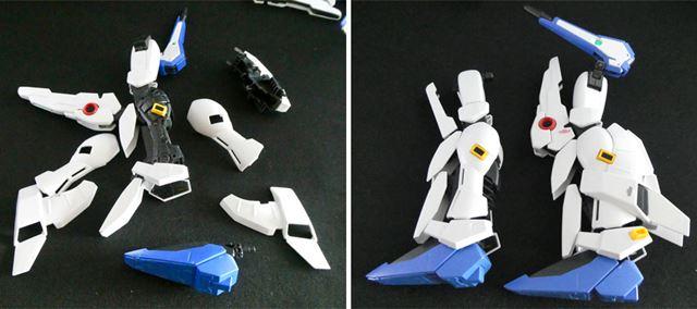 脚は一度バラして、Sガンダム用の膝アーマーに換装。インコム装備のないシンプルなほうがSガンダム用です
