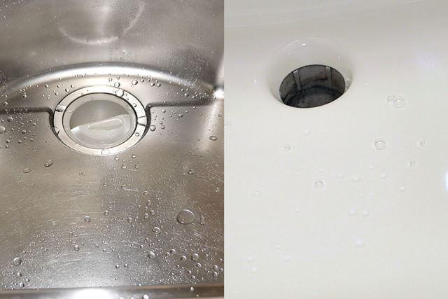 撥水(はっすい)効果があるので、水を流すと水玉になってサーッと流れていきます