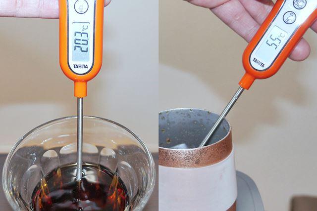 普通グラス、20.3℃。カップクーラー、5.5℃