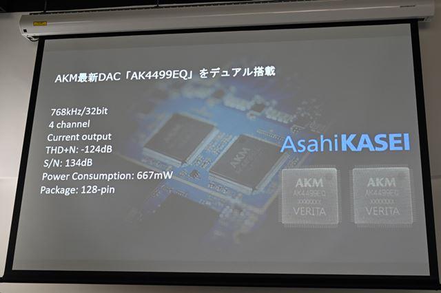 電流出力方式を採用することでこれまでにない高SN比・低ひずみを実現した「AK4499EQ」