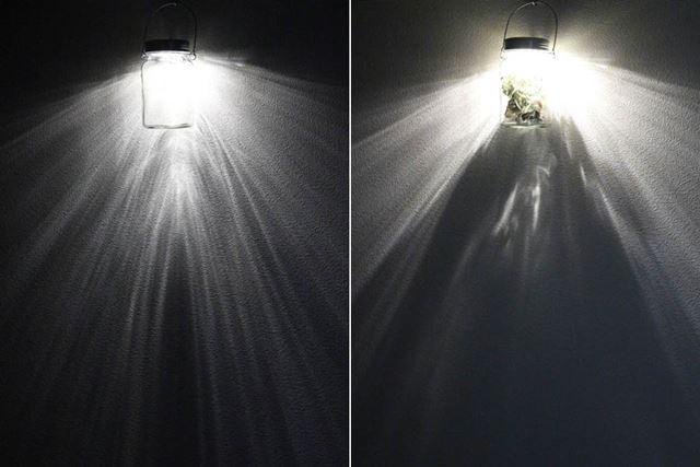 入れる物によっても変わりますが、物が入っていると多少光が遮られてしまいます