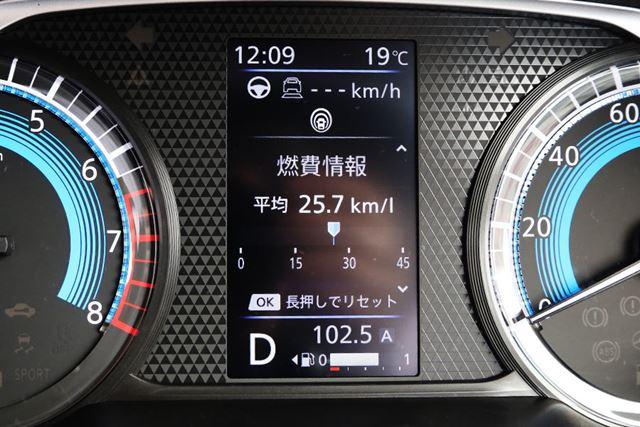行きの高速道路の燃費は「25.7km/L」を記録した