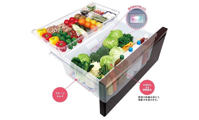 野菜を4つの区画に分けて収納できる「MX」シリーズの野菜室