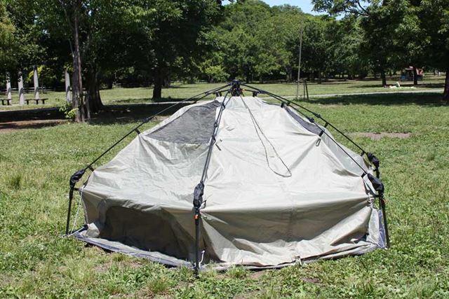 テントが開いて、立ち上がりました!
