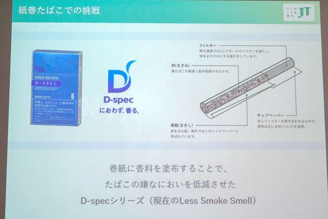 山田氏が携わった「D-spec」。巻紙に香料を塗布することで、においの低減を図った