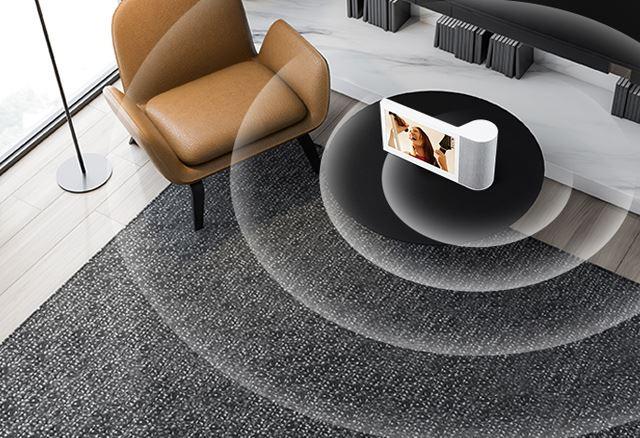 スピーカーの実用最大出力は10W。独自形状のディフューザーで部屋中に音を広げてくれるという