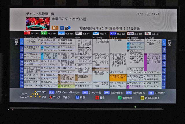 テレビ画面のリモコンUI。チャンネル録画一覧は番組表スタイルで、見たい番組を直感的に探せる
