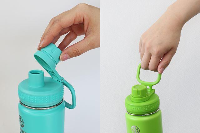 飲み口のフタは開けたらロックされる構造。キャリーハンドルは広くて持ち運びやすい