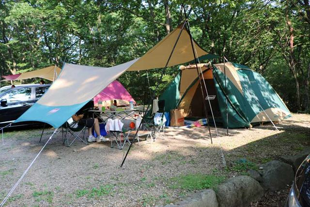 一般的なキャンプサイトの広さは10×10m。テントの大きさも合わせてサイズ感を考えましょう