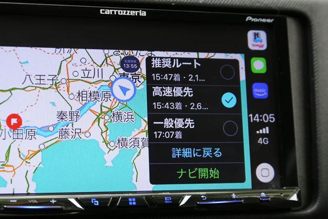 「Yahoo! カーナビ」の画面。無料アプリながら、推奨ルートや高速優先、一般優先などのルートが選択できる