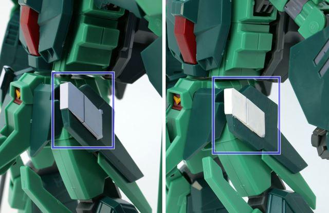 左がシールを貼っている状態。右がシールをはがし、ニューホワイトを塗ってみた状態です