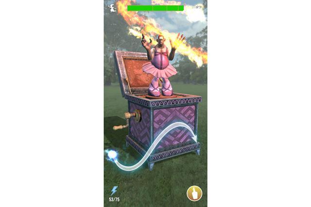 魔法を使うには画面の表示どおりにスワイプするだけ。スワイプする時間や、正確性により、攻撃力が変化