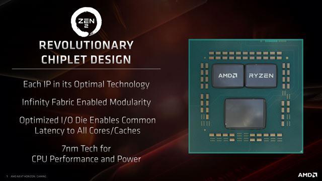 「Zen 2」では、別々の製造プロセスで作られたCPUとI/Oを組み合わせた新しい回路設計を導入