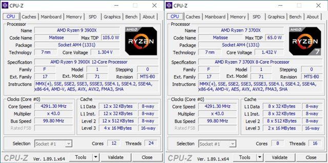 CPU-Zで「Ryzen 9 3900X」と「Ryzen 7 3700X」の詳細を確認