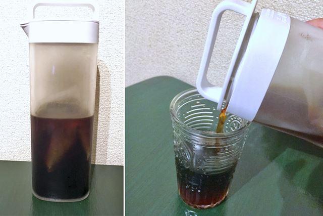 4時間経過したものがこちら。いい感じに水出しコーヒーができました!