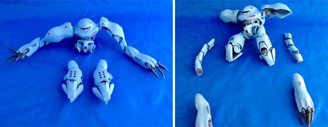 脚をバラして専用のももパーツと交換。腕も長い可動部分を外して爪部分にジェットパックを付けていきます