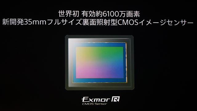 フルサイズセンサーとしては世界初となる有効約6100万画素の裏面照射型ExmorR CMOSセンサーを採用
