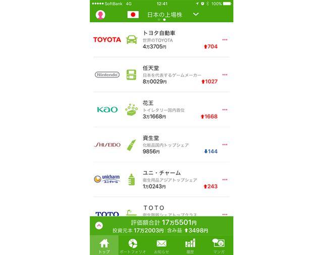 日本株の取引画面。記事の冒頭でも紹介したとおり、誰もが知っている有名企業がそろっています