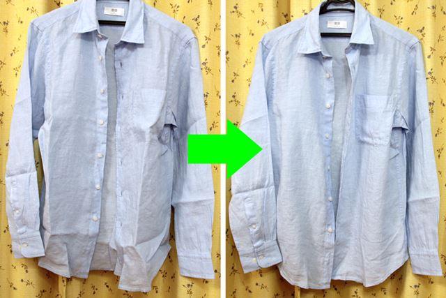 おろしたてのリネンシャツの折ジワも1分のスチームで目立たなくなります