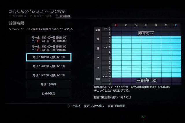 録画日数と録画時間帯もカスタム可能