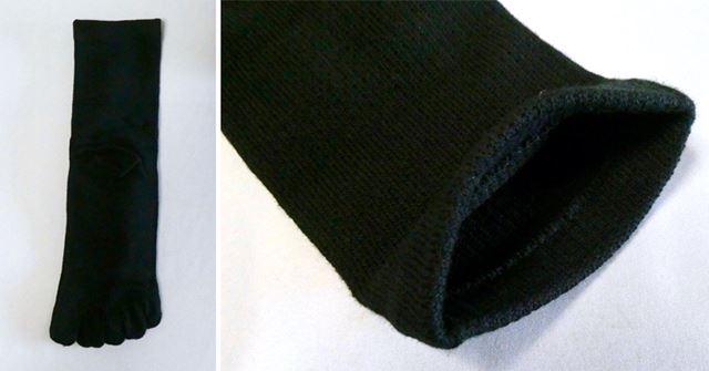 五本指ソックスでややゆとりのある構造。生地はかなり厚めです