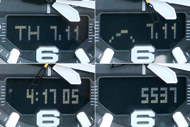 時刻モードでの表示。左上から時計回りに、曜日+日付、気圧傾向グラフ+日付、歩数(本日)、時分秒