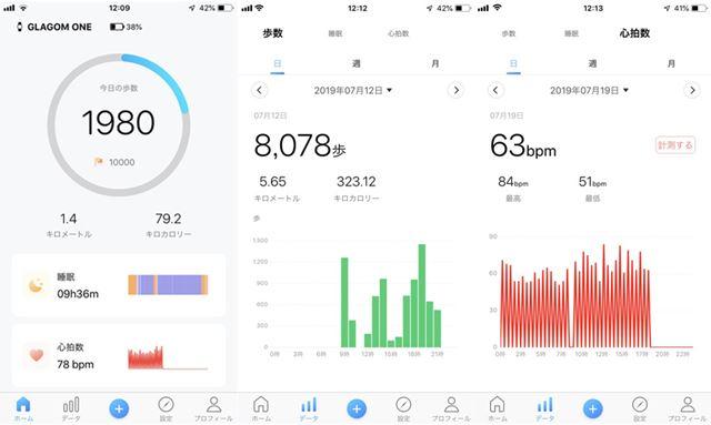 専用アプリ画面。左がホーム画面で、中央が歩数の計測結果、右が心拍数の計測結果