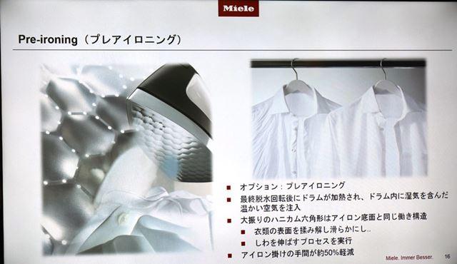 湿気を含んだ空気とドラム槽内側のハニカム構造により、衣類のからみがほぐされ伸ばされる