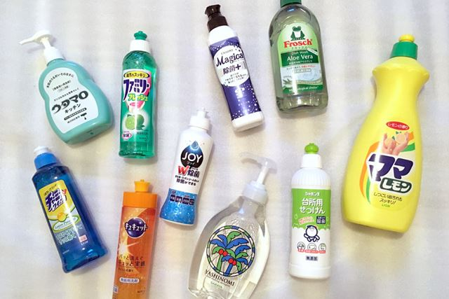 食器用洗剤10商品の成分や泡立ち具合、汚れ落ちを比較してみたいと思います