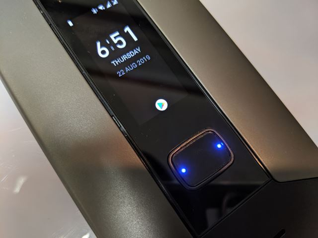 The blue light is on, the fingerprint authentication sensor that doubles as a physical button