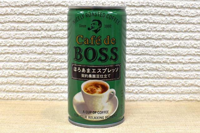 「カフェ・ド・ボス ほろあまエスプレッソ」のメーカー希望小売価格は124円(税込)。内容量は185g