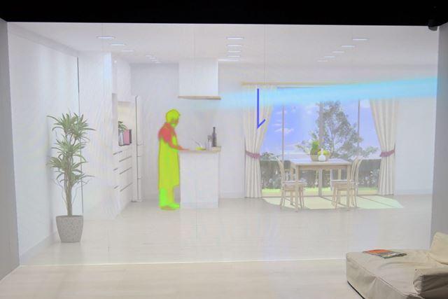 吊り戸棚があるキッチンに対しても、人の表面温度を検知し、届くようにしっかり気流を送ります
