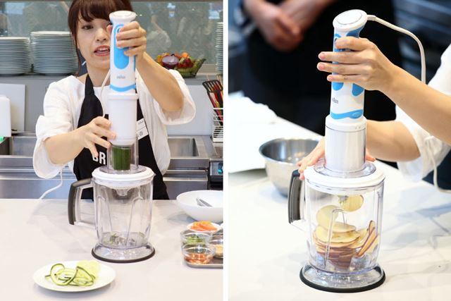 スパイラライザー使用ポジション。細長い野菜を本体先に装着してスイッチを入れて押し込んでいくだけです