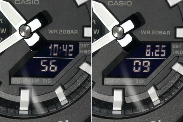 左は「上:時・分+下:秒」、右は「上:月・日+下:秒」を表示
