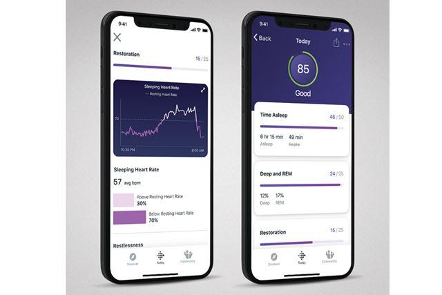 後述の「Fitbit Premium」の計測結果画面(英語版)。右の上部に表示されているのが「睡眠スコア」