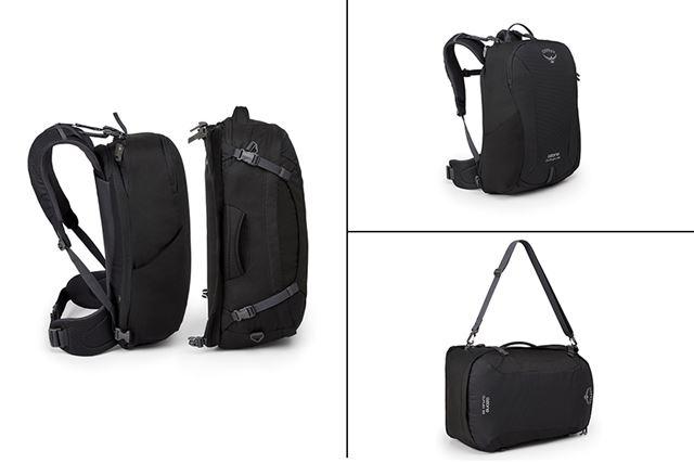 それぞれのバッグは機能性が高く、単体でも使用できて便利だ。写真右上がデイパックで右下がカーゴバッグ