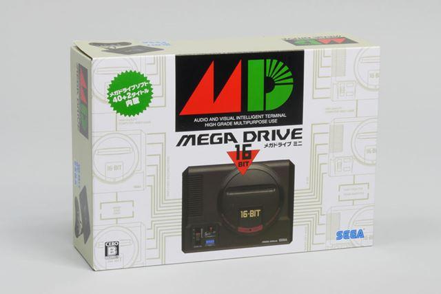 「メガドライブミニ」のパッケージ。大きくプリントされた「MD」というロゴが懐かしいですね