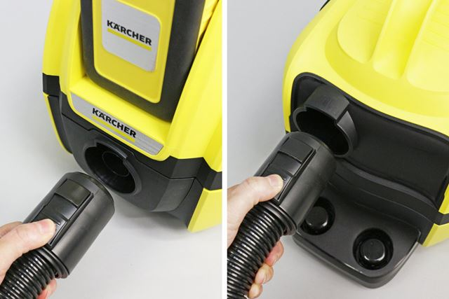 ホースを差し替えれば、普通の掃除機がけ(吸引)とブロア(送風)を切り替えられる