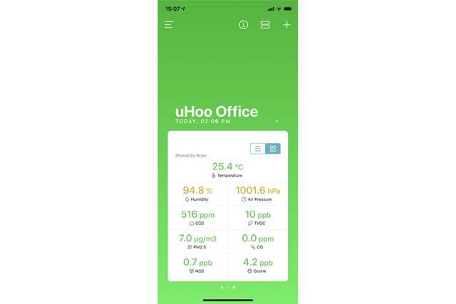 スマートフォンアプリでセンサーの値を概観できる