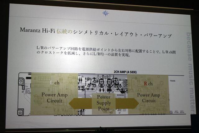 電源部を中央にして、L/Rチャンネルを左右対称に配置するシンメトリカル・レイアウトを採用している