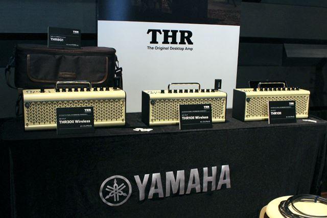 写真左から、30W出力の「THR30 II Wireless」、20W出力の「THR10 II Wireless」と「THR10 II」